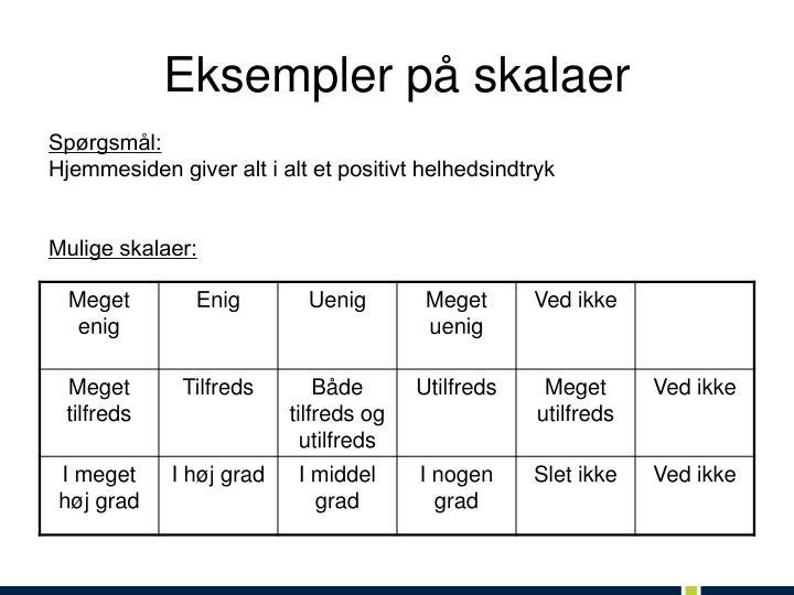Eksempler på skalaer