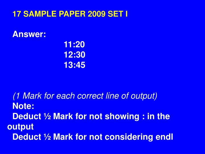 17 SAMPLE PAPER 2009 SET I