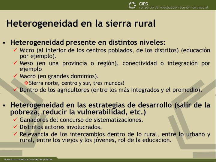 Heterogeneidad en la sierra rural