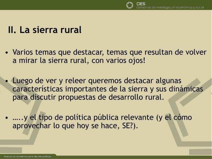 II. La sierra rural