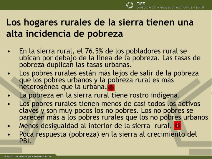 Los hogares rurales de la sierra tienen una alta incidencia de pobreza
