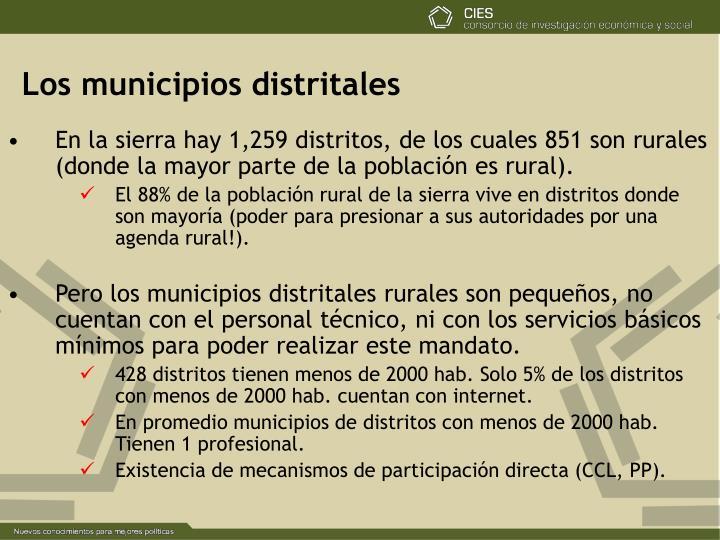 Los municipios distritales