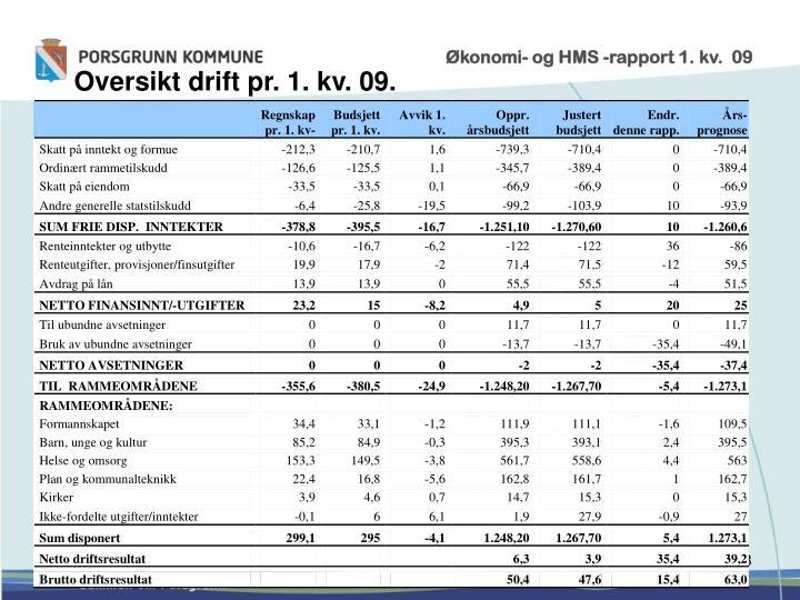 Økonomi- og HMS -rapport 1. kv.  09