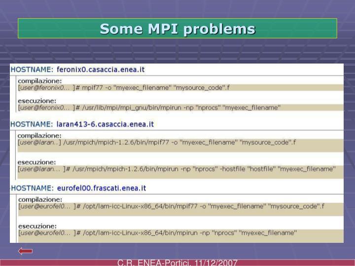 Some MPI problems