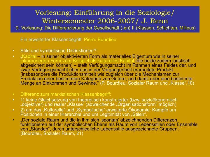 Vorlesung: Einführung in die Soziologie/ Wintersemester 2006-2007/ J. Renn