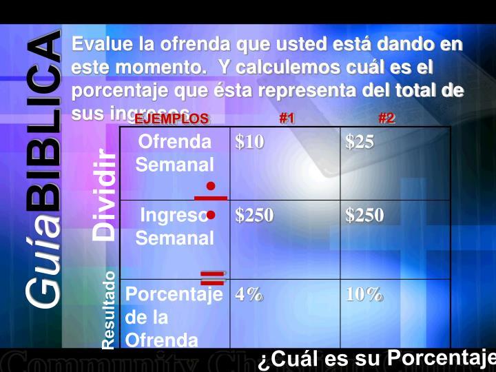 Evalue la ofrenda que usted está dando en este momento.  Y calculemos cuál es el porcentaje que ésta representa del total de sus ingresos.