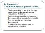 in summary the enfa plan supports cont