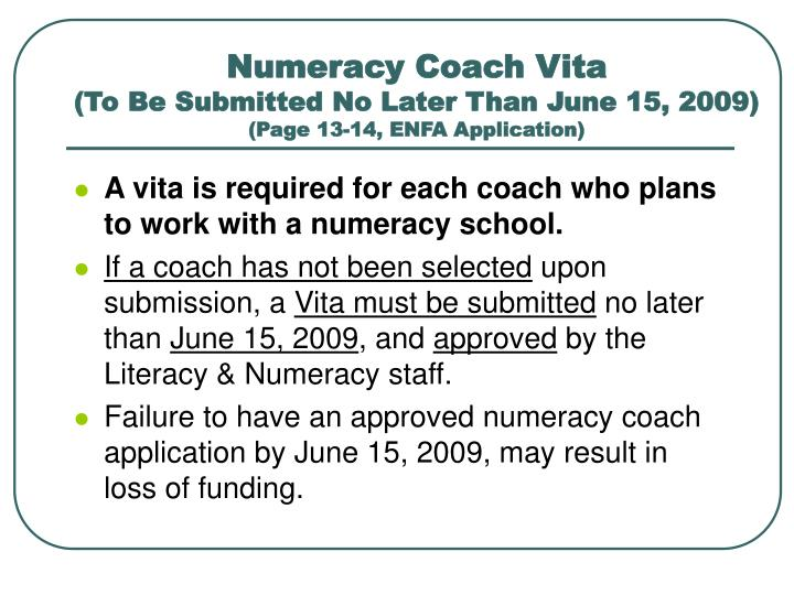Numeracy Coach Vita