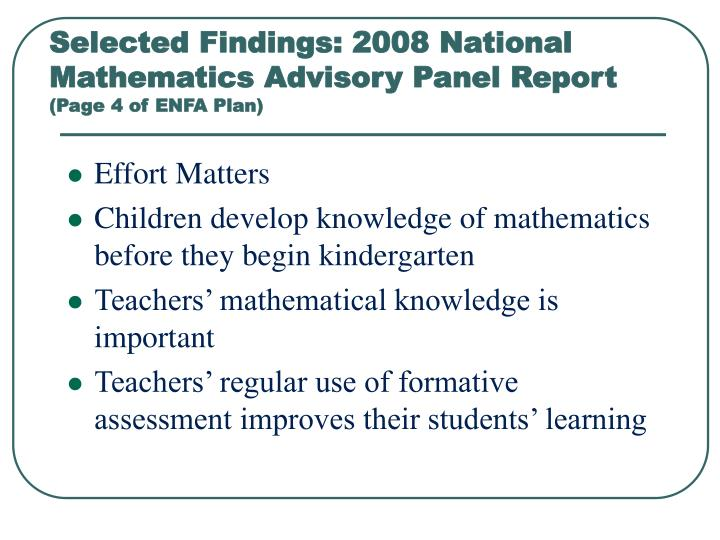 Selected Findings: 2008 National Mathematics Advisory Panel Report