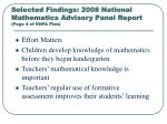 selected findings 2008 national mathematics advisory panel report page 4 of enfa plan