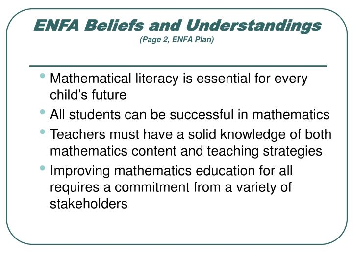 ENFA Beliefs and Understandings