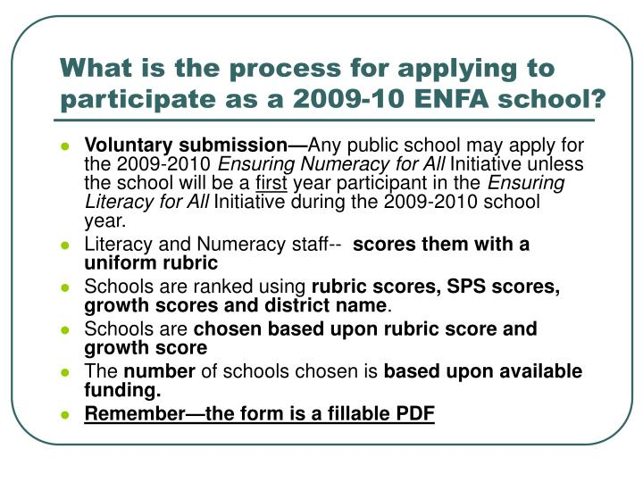 What is the process for applying to participate as a 2009-10 ENFA school?