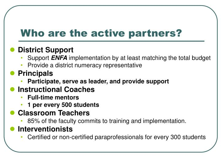 Who are the active partners?