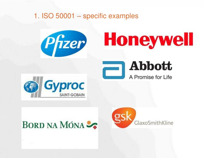 1. ISO 50001 – specific examples