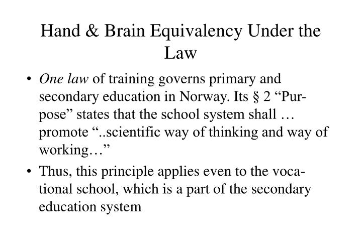 Hand & Brain Equivalency Under the Law