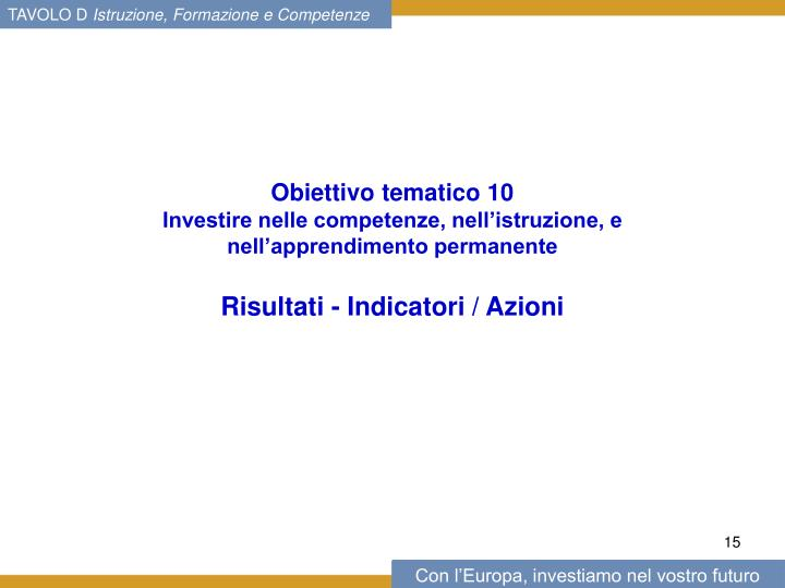 Obiettivo tematico 10