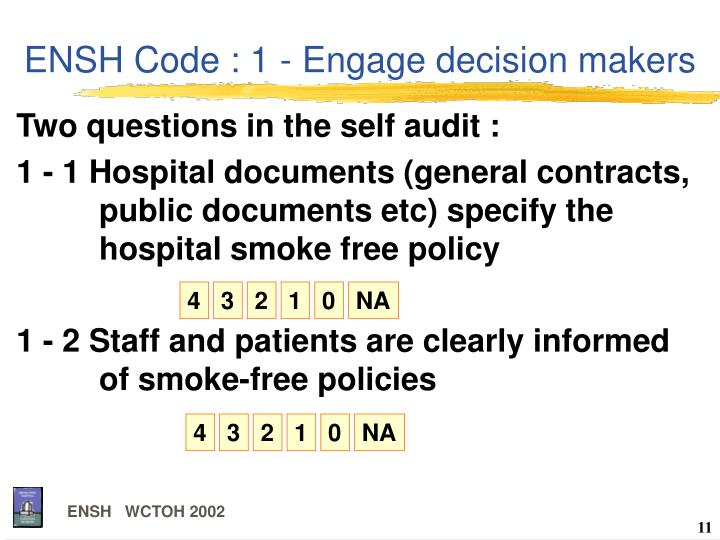 ENSH Code : 1 - Engage decision makers