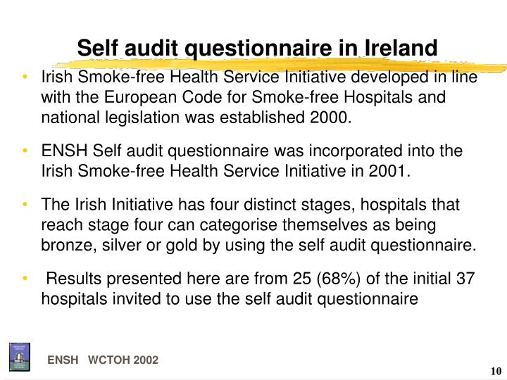 Self audit questionnaire in Ireland