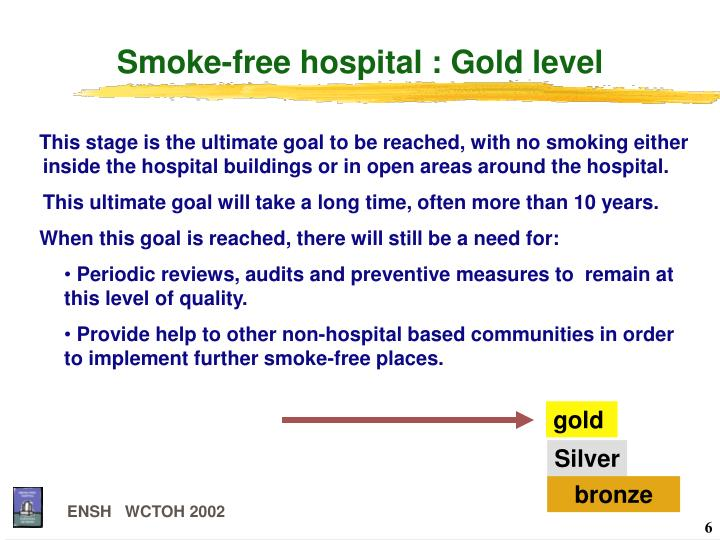 Smoke-free hospital : Gold level