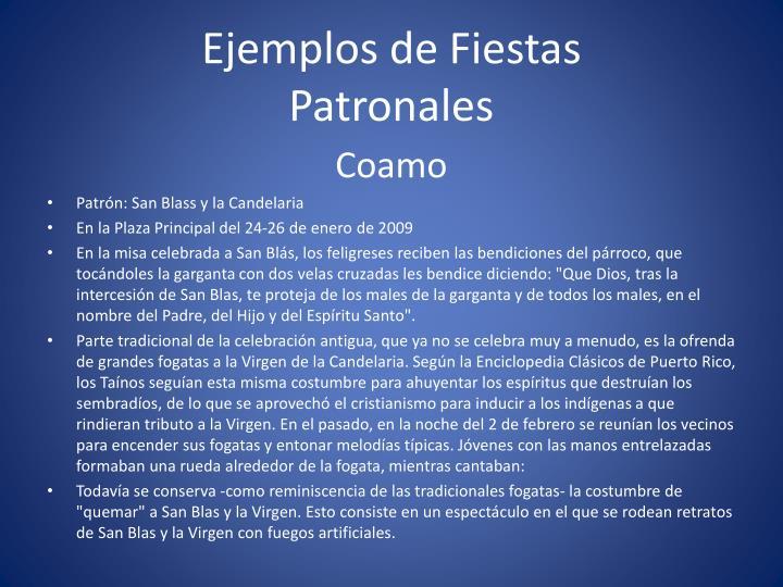 Ejemplos de Fiestas