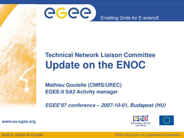 technical network liaison committee update on the enoc