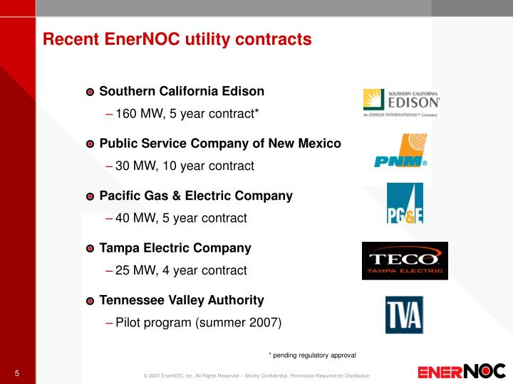 Recent EnerNOC utility contracts