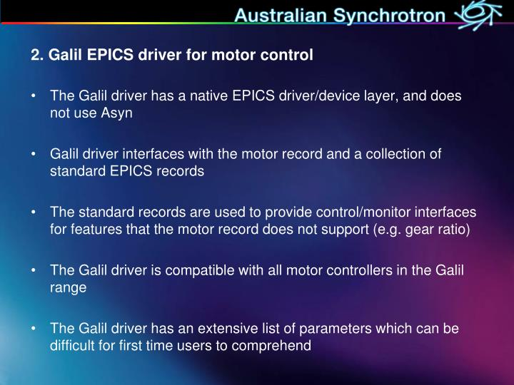 2. Galil EPICS driver for motor control