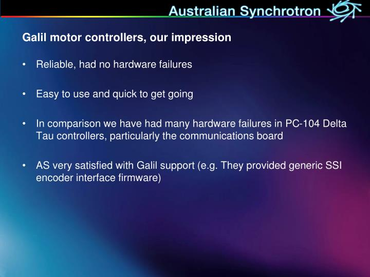 Galil motor controllers, our impression