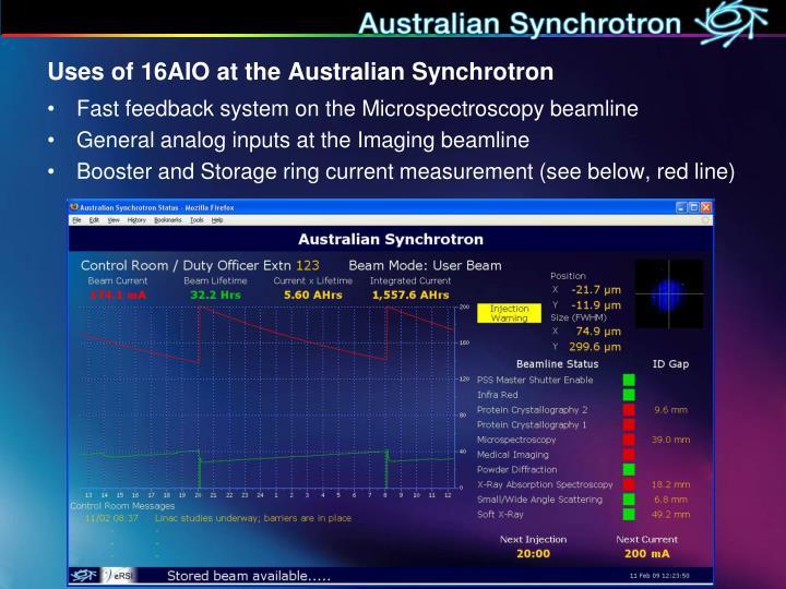 Uses of 16AIO at the Australian Synchrotron