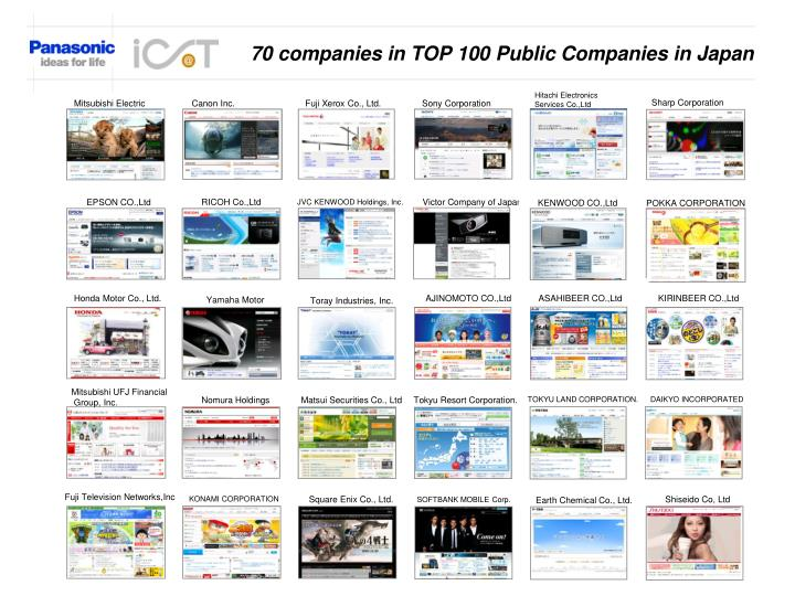 70 companies in TOP 100 Public Companies in Japan