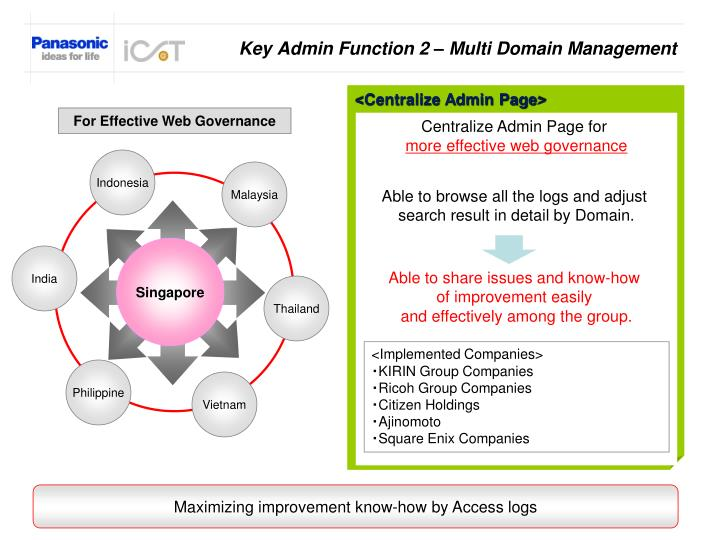 Key Admin Function 2 – Multi Domain Management