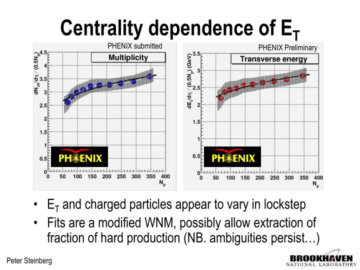 Centrality dependence of E