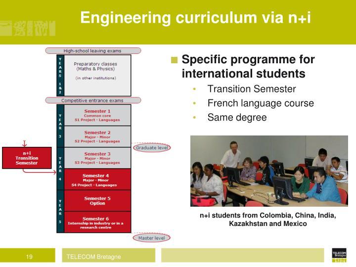 Engineering curriculum via n+i