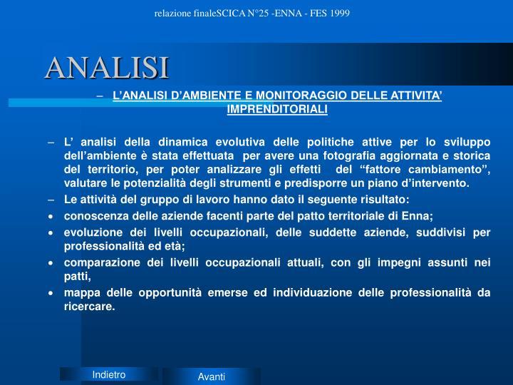 relazione finaleSCICA N°25 -ENNA - FES 1999