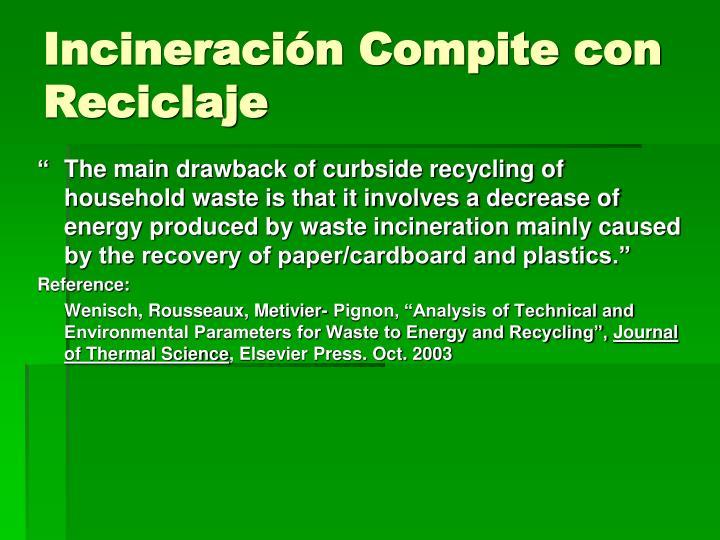 Incineración Compite con Reciclaje