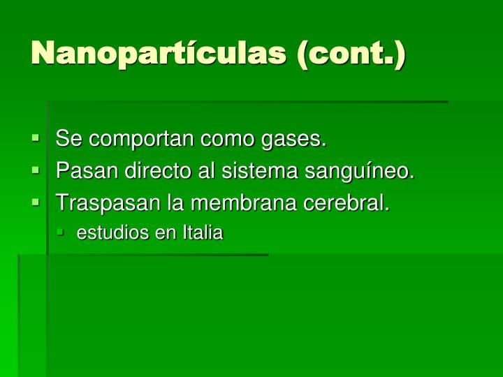 Nanopartículas (cont.)