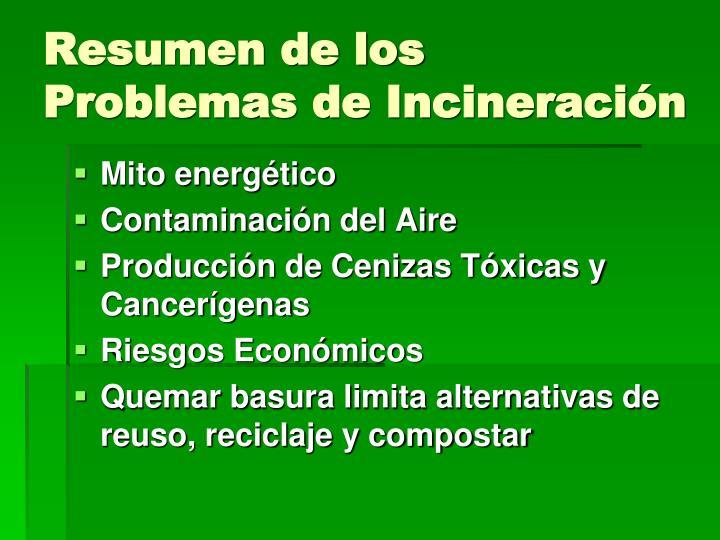 Resumen de los Problemas de Incineraci