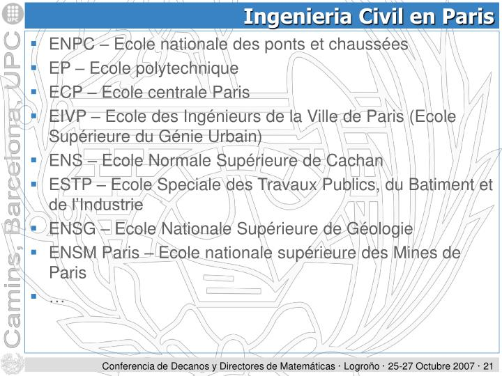 Ingenieria Civil en Paris