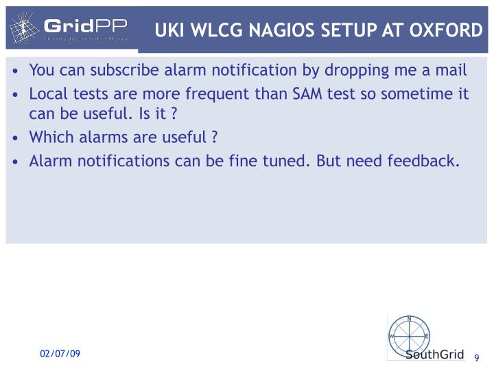 UKI WLCG NAGIOS SETUP AT OXFORD