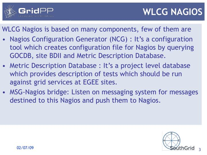 WLCG Nagios is based on many components, few of them are