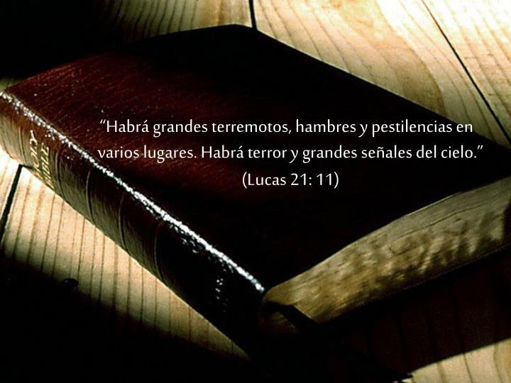 Habr grandes terremotos, hambres y pestilencias en varios lugares. Habr terror y grandes seales del cielo. (Lucas 21: 11)