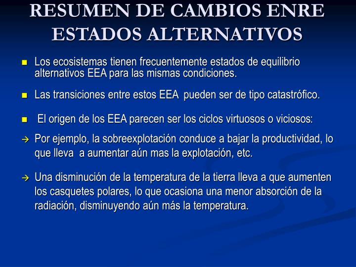 RESUMEN DE CAMBIOS ENRE ESTADOS ALTERNATIVOS