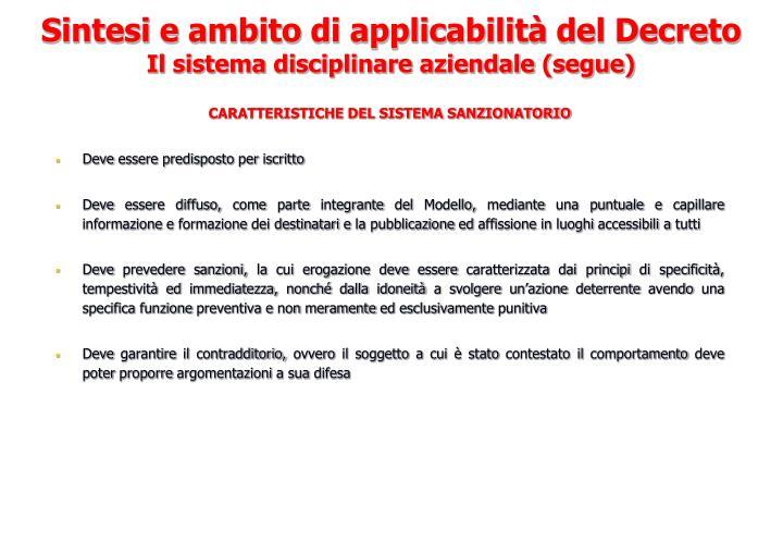 CARATTERISTICHE DEL SISTEMA SANZIONATORIO