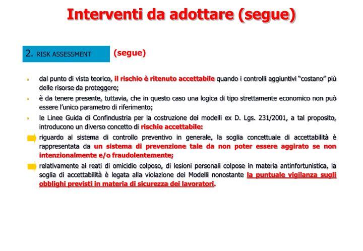 Interventi da adottare (segue)