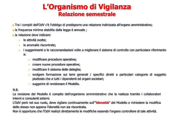 Tra i compiti dell'OdV c'è l'obbligo di predisporre una relazione indirizzata all'organo amministrativo;