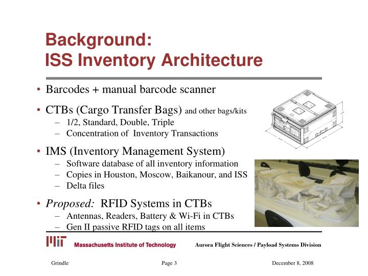 Background iss inventory architecture