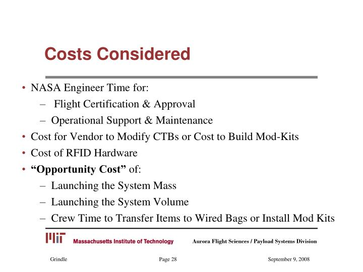 Costs Considered