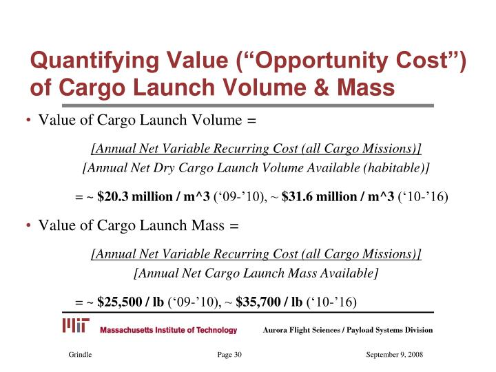 "Quantifying Value (""Opportunity Cost"")  of Cargo Launch Volume & Mass"