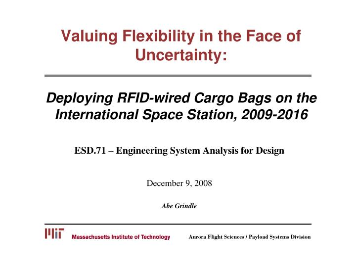 Valuing Flexibility in the Face of Uncertainty: