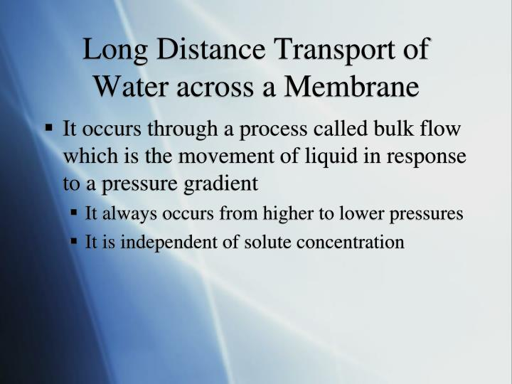 Long Distance Transport of Water across a Membrane
